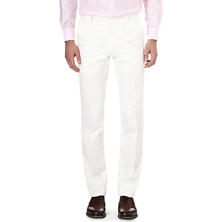 RICHARD JAMES Slim-fit cotton trousers (Cream
