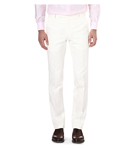 RICHARD JAMES Slim-fit wool and silk trousers (Cream