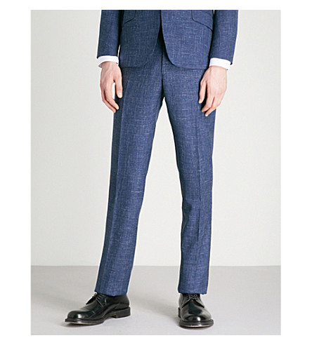 RICHARD JAMES Slim-fit wool and silk-blend trousers (Deep+blue
