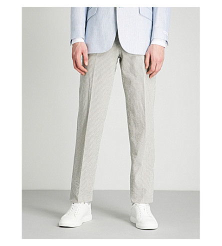 RICHARD JAMES Slim-fit wool and silk-blend trousers (Pewter+grey+white