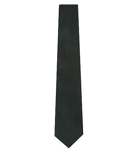 RICHARD JAMES Grenadine woven silk tie (Forest+green