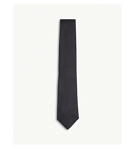 RICHARD JAMES Solid grenadine silk tie (Black