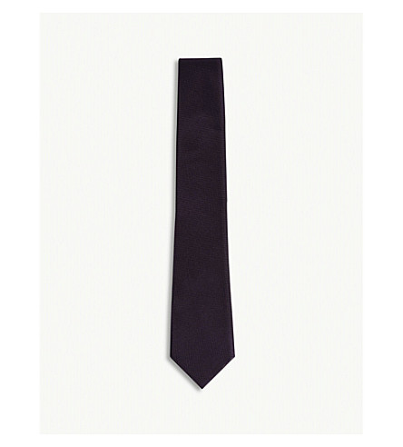 RICHARD JAMES Grenadine weave silk tie (Deep+purple