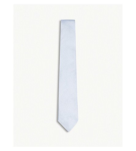RICHARD JAMES Solid grenadine silk tie (Sky