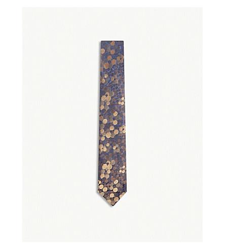 RICHARD JAMES Bubbles print silk tie (Brown