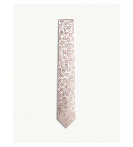 RICHARD JAMES Flowers print silk tie (Dusty+pink