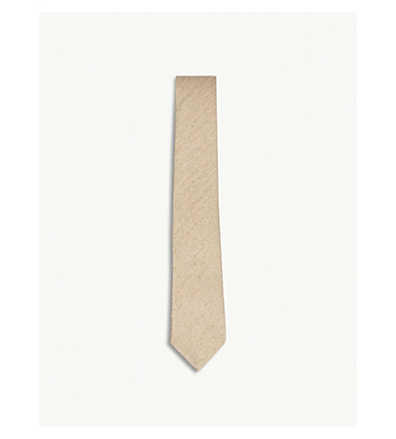 RICHARD JAMES Herringbone Slub silk tie (Sand