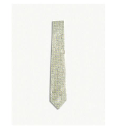 RICHARD JAMES Parquet pipe print silk tie (Sky+lemon