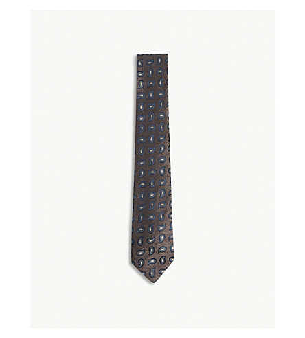 RICHARD JAMES Paisley teardrops print silk tie (Brown