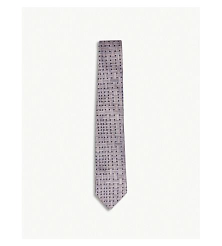 RICHARD JAMES Basket-weave print silk tie (Pink