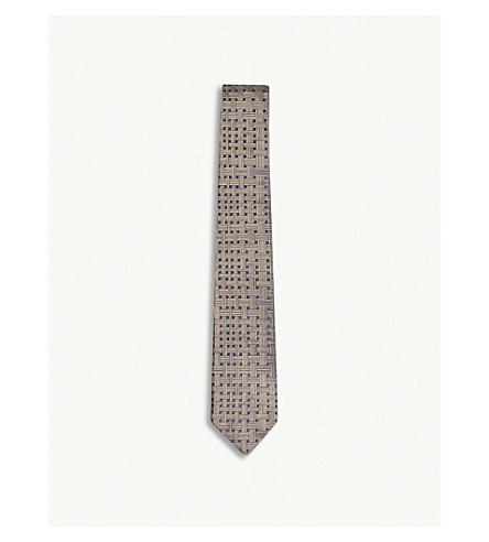 RICHARD JAMES Basket-weave print silk tie (Mocha
