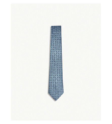 RICHARD JAMES Basket-weave print silk tie (Aqua