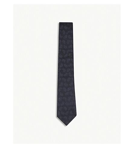 RICHARD JAMES Paisley print grenadine silk tie (Navy