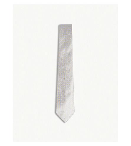 RICHARD JAMES Parquet pipe print silk tie (Sky+sand