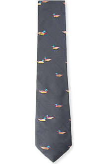 RICHARD JAMES Friendly ducks silk tie