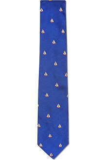 RICHARD JAMES Sail boats silk tie