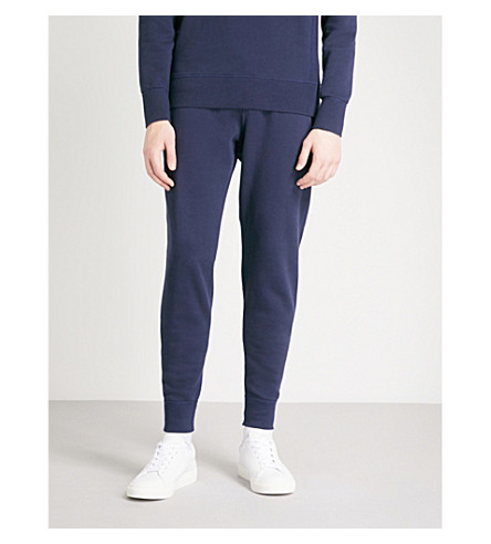 RICHARD JAMES Drawstring cotton-jersey jogging bottoms (Navy
