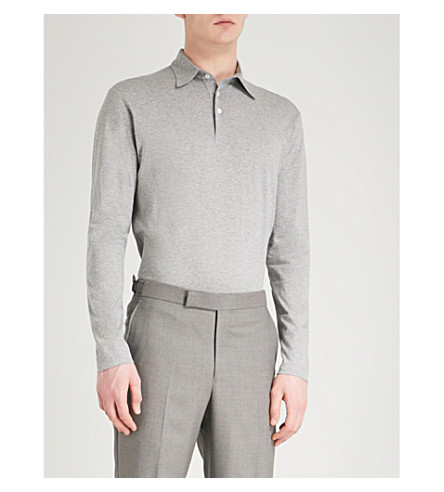RICHARD JAMES Short-sleeved cotton polo shirt (Grey