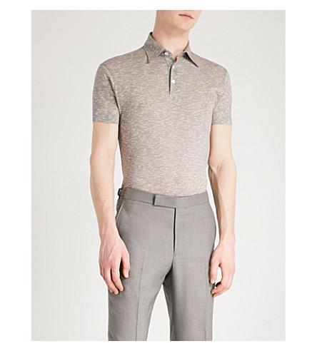 RICHARD JAMES Short-sleeved cotton polo shirt (Brown