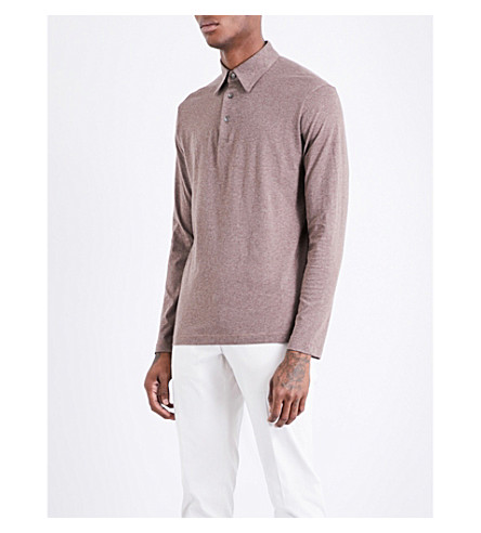 RICHARD JAMES Long-sleeved cotton-jersey polo shirt (Taupe