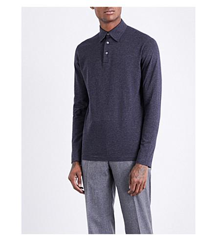 RICHARD JAMES Striped long-sleeved cotton-jersey polo shirt (Navy+stripe