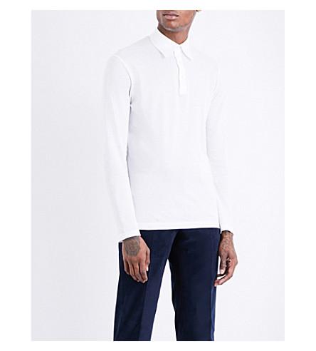 RICHARD JAMES Long-sleeved cotton-piqué polo shirt (Wt+pique