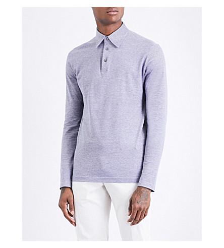 RICHARD JAMES Long-sleeved cotton-piqué polo shirt (Blue+pique