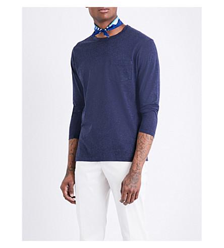 RICHARD JAMES Long-sleeved cotton-jersey T-shirt (Blue