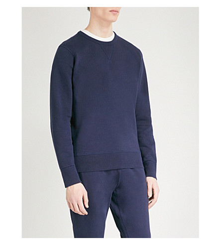 RICHARD JAMES Crewneck cotton-jersey jumper (Navy