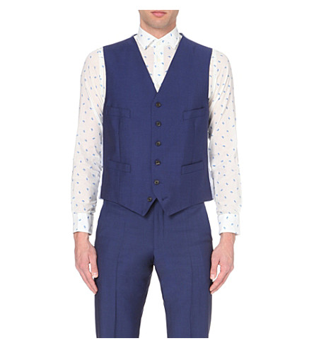 RICHARD JAMES Satin-back wool and mohair-blend waistcoat (Blue