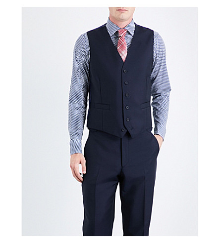 RICHARD JAMES Single-breasted wool and mohair-blend waistcoat (Navy