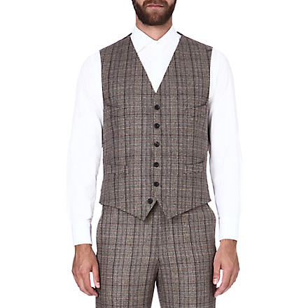 RICHARD JAMES Glen check waistcoat (Brown