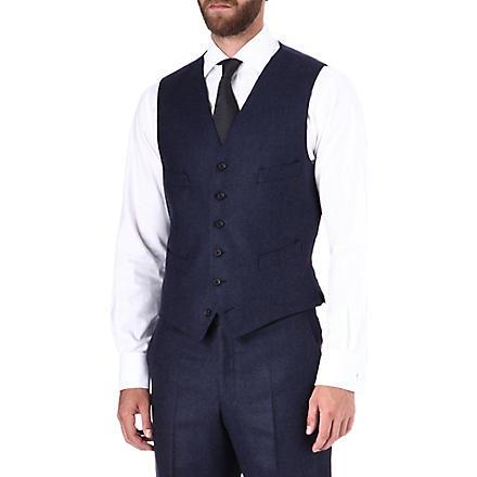 RICHARD JAMES Glen check waistcoat (Navy