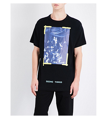 OFF-WHITE C/O VIRGIL ABLOH Caravaggio-print cotton-jersey T-shirt (Black+white