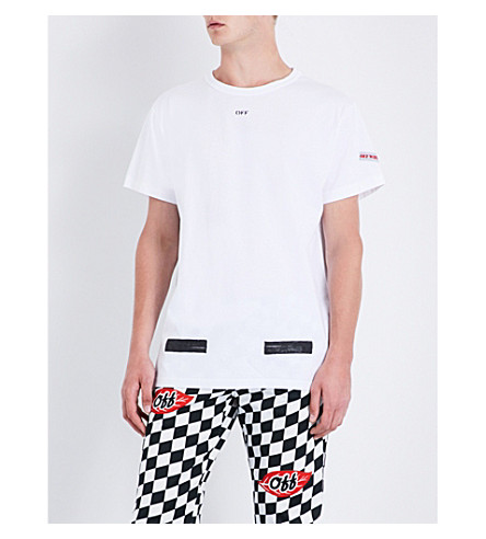 OFF-WHITE C/O VIRGIL ABLOH Logo-print cotton-jersey T-shirt (White+black