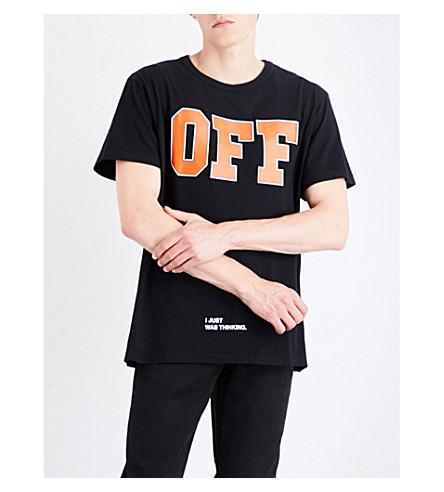 OFF-WHITE C/O VIRGIL ABLOH Text-detail cotton-jersey T-shirt (Black+orange