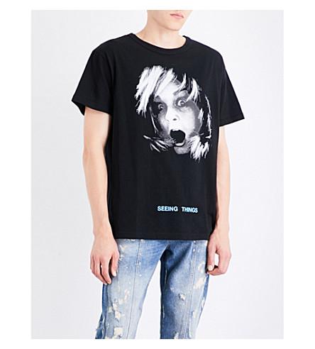 OFF-WHITE C/O VIRGIL ABLOH Screaming girl cotton-jersey T-shirt (Black+multicolor