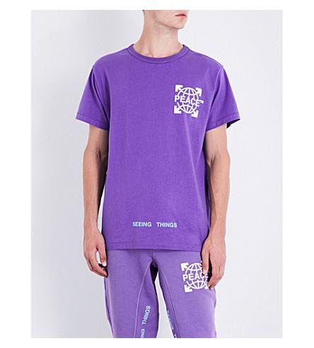 OFF-WHITE C/O VIRGIL ABLOH Globe-print cotton-jersey T-shirt (Violet+white