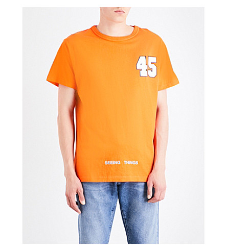 OFF-WHITE C/O VIRGIL ABLOH Surreal cotton-jersey T-shirt (Orange+white