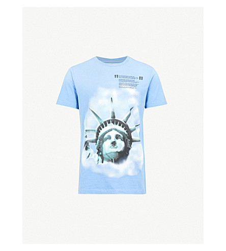 OFF-WHITE C/O VIRGIL ABLOH Liberty cotton-jersey T-shirt (Blue