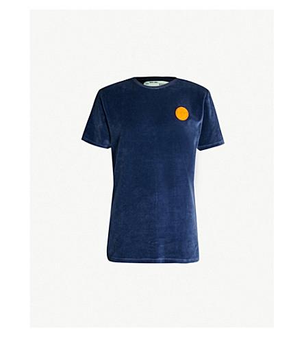 OFF-WHITE C/O VIRGIL ABLOH Logo-patch velour T-shirt (Blue