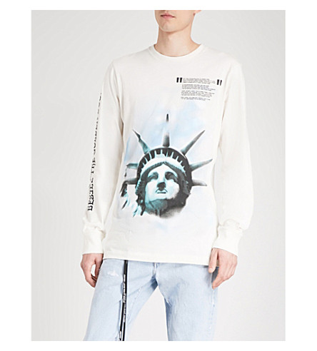 OFF-WHITE C/O VIRGIL ABLOH Statue of Liberty cotton-jersey top (White