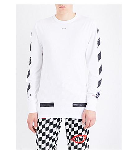 OFF-WHITE C/O VIRGIL ABLOH Brushed logo-print cotton-jersey T-shirt (White+black