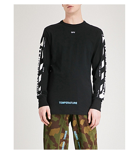 OFF-WHITE C/O VIRGIL ABLOH Temperature cotton-jersey T-shirt (Black+white