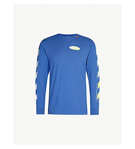 OFF-WHITE C/O VIRGIL ABLOH Logo-print cotton-jersey T-shirt (Blue