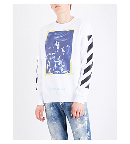 OFF-WHITE C/O VIRGIL ABLOH Caravaggio cotton-jersey sweatshirt (White