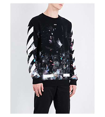 OFF-WHITE C/O VIRGIL ABLOH Galaxy cotton-jersey sweatshirt (All+over+white