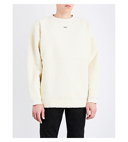 OFF-WHITE C/O VIRGIL ABLOH Slogan faux-shearling sweatshirt (Ecru'whit
