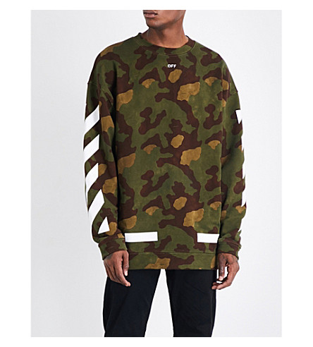 OFF-WHITE C/O VIRGIL ABLOH Camouflage-print cotton-jersey sweatshirt (Green