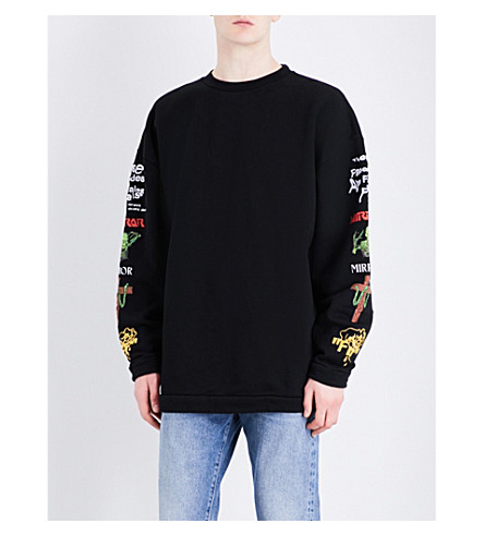 OFF-WHITE C/O VIRGIL ABLOH Embroidered and printed-detail cotton-jersey sweatshirt (Black multi